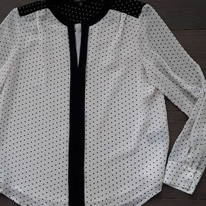 Black and cream polka dot blouse